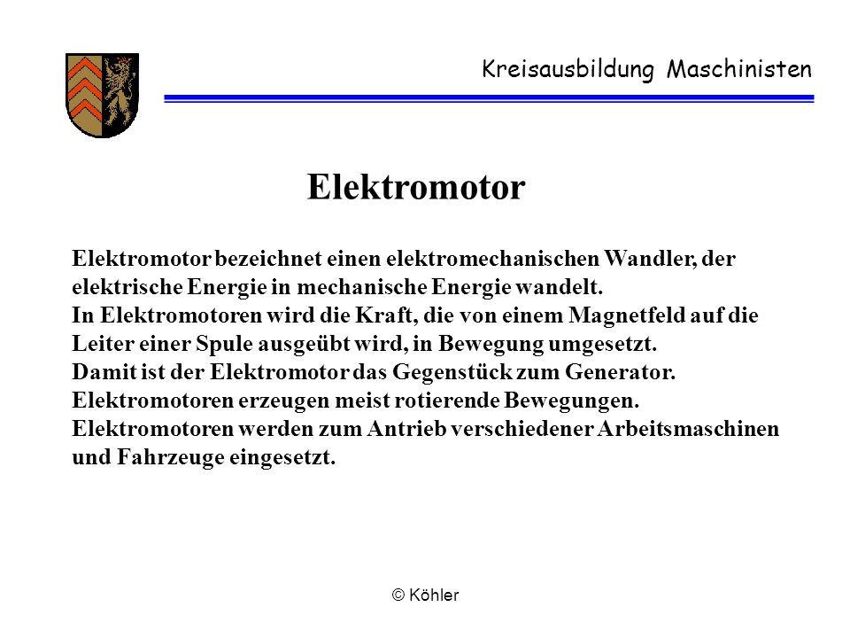 Elektromotor Kreisausbildung Maschinisten