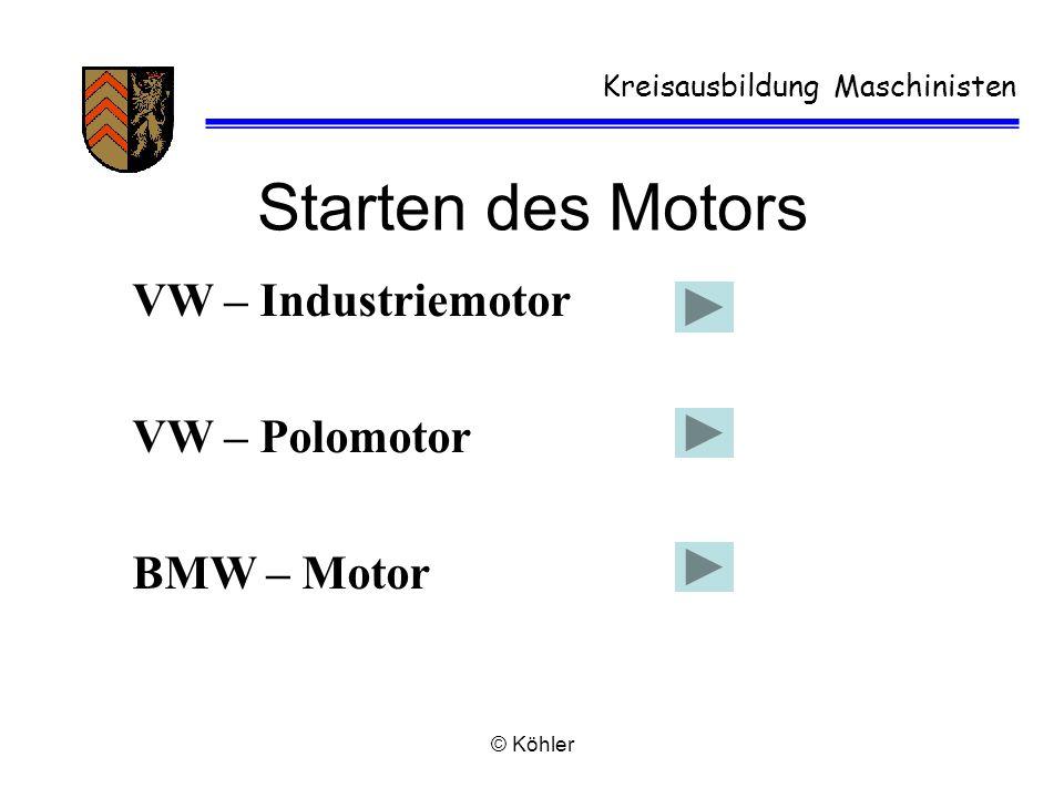 Starten des Motors VW – Industriemotor VW – Polomotor BMW – Motor