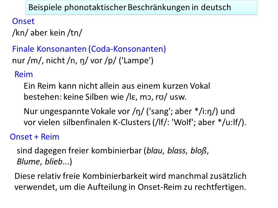 Beispiele phonotaktischer Beschränkungen in deutsch