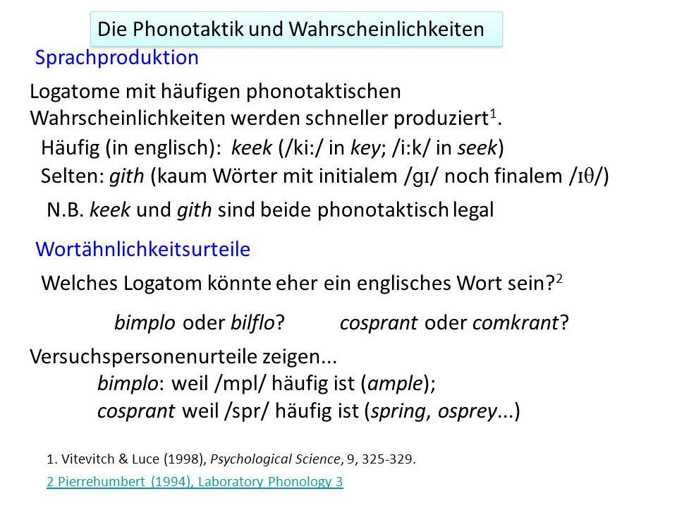 Die Phonotaktik und Wahrscheinlichkeiten Sprachproduktion