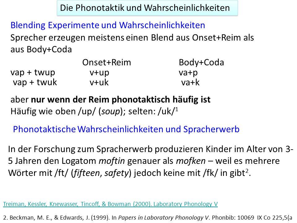 Die Phonotaktik und Wahrscheinlichkeiten