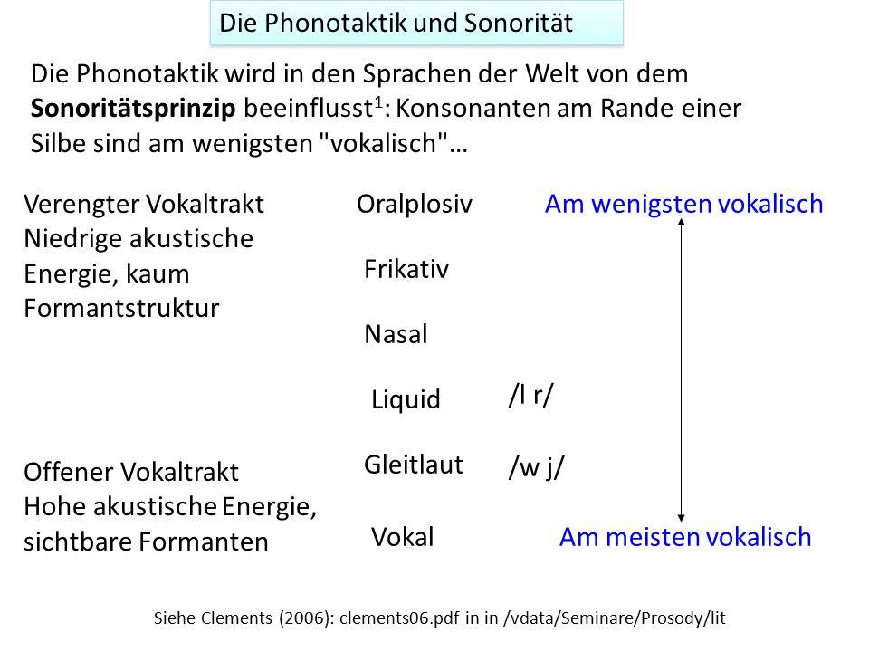 Die Phonotaktik und Sonorität