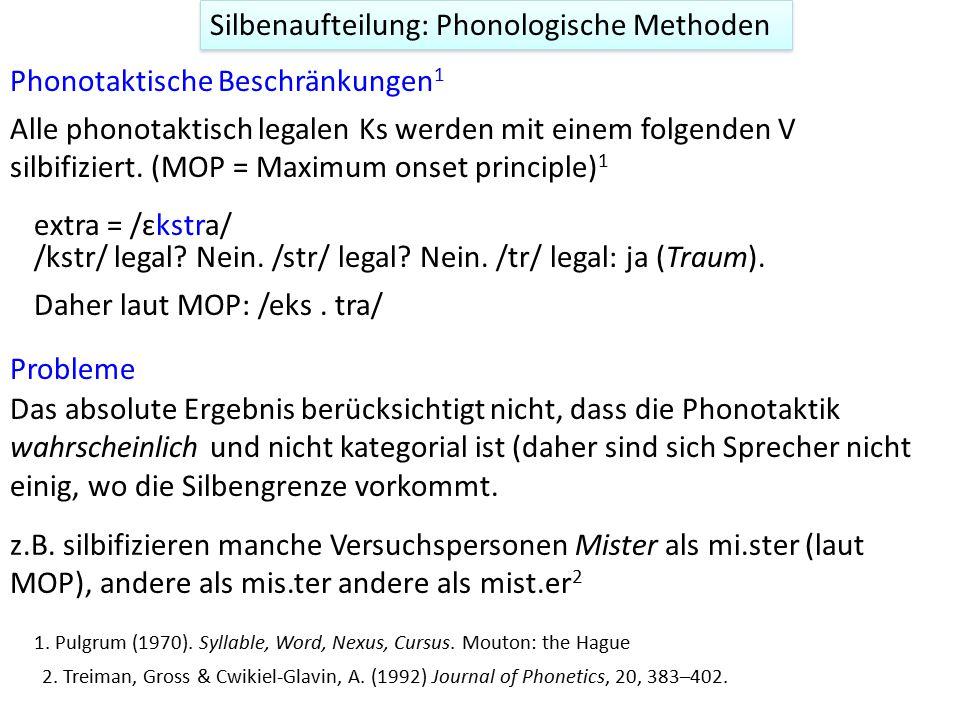 Silbenaufteilung: Phonologische Methoden