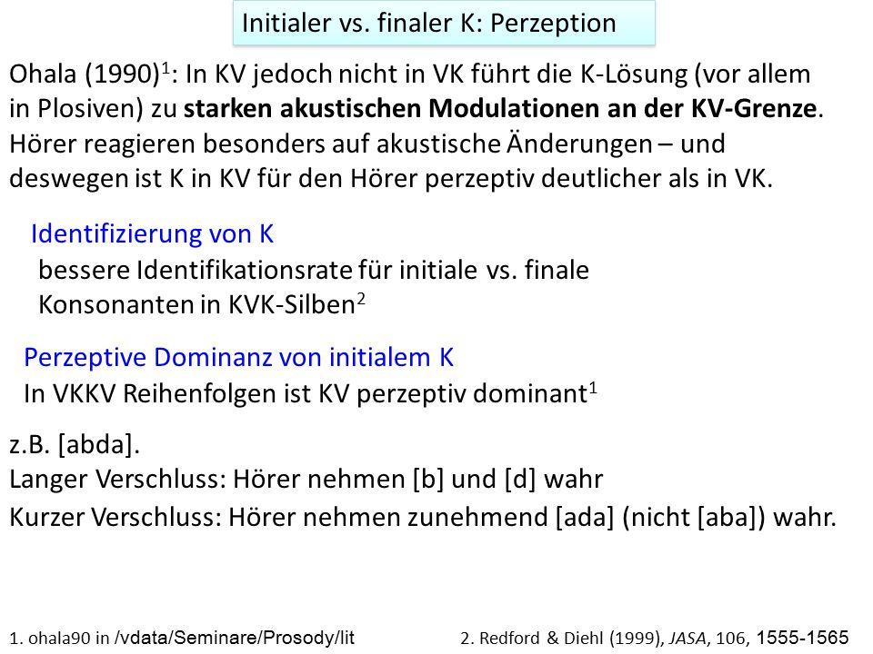 Initialer vs. finaler K: Perzeption