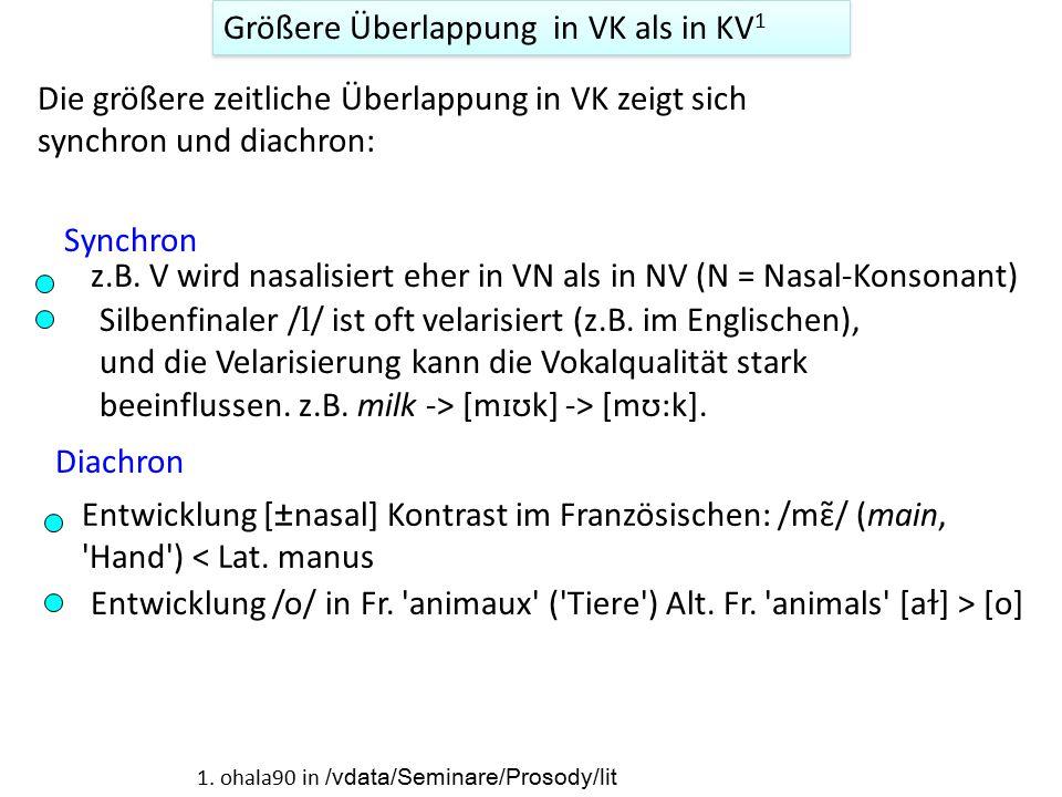Größere Überlappung in VK als in KV1