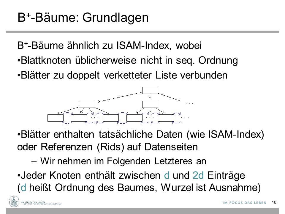 B+-Bäume: Grundlagen B+-Bäume ähnlich zu ISAM-Index, wobei