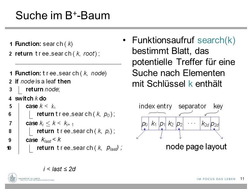 Suche im B+-Baum Funktionsaufruf search(k) bestimmt Blatt, das potentielle Treffer für eine Suche nach Elementen mit Schlüssel k enthält.