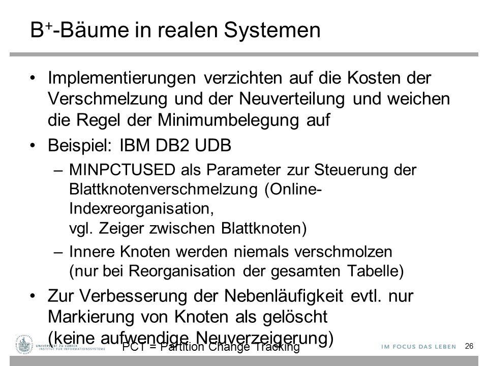 B+-Bäume in realen Systemen