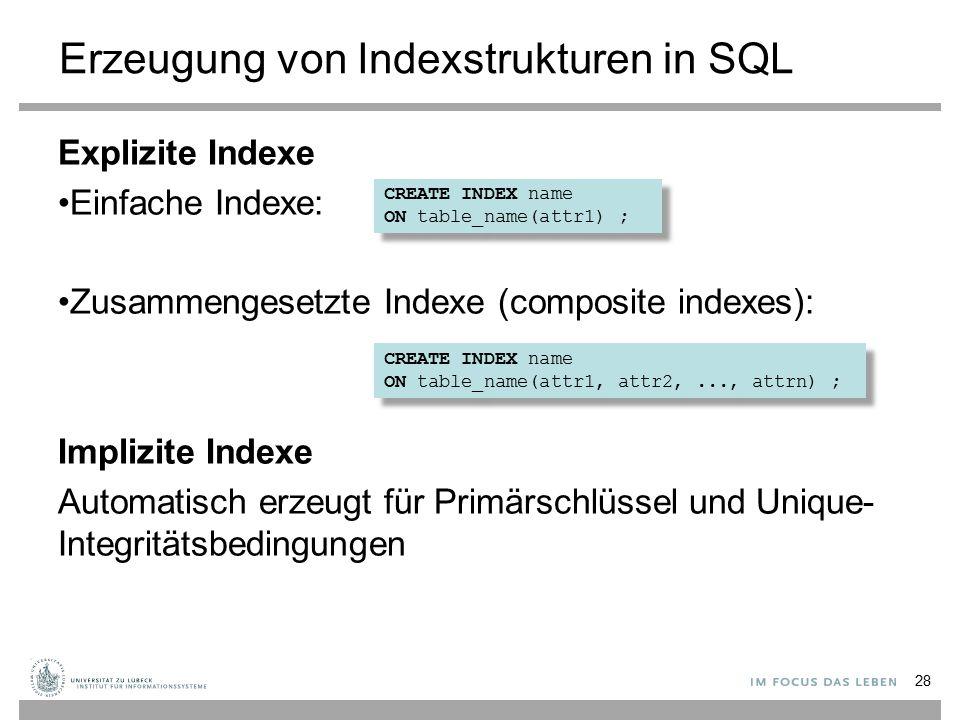 Erzeugung von Indexstrukturen in SQL