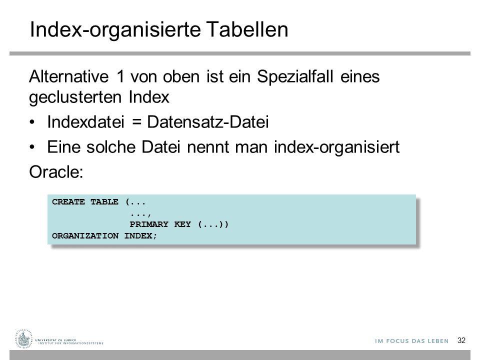 Index-organisierte Tabellen