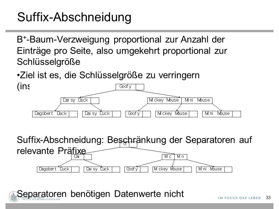 Suffix-Abschneidung B+-Baum-Verzweigung proportional zur Anzahl der Einträge pro Seite, also umgekehrt proportional zur Schlüsselgröße.