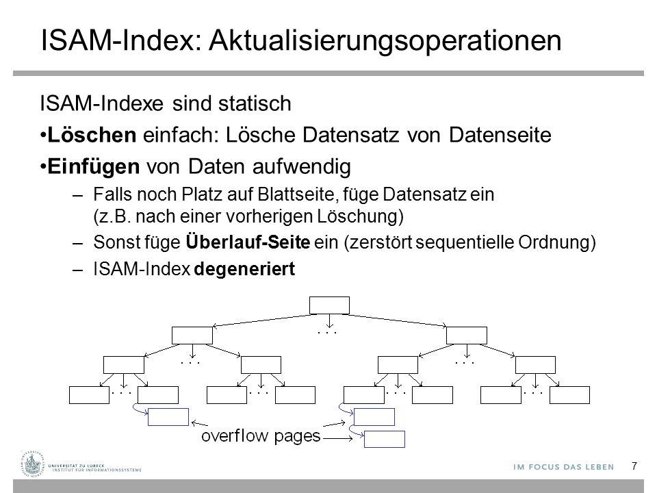 ISAM-Index: Aktualisierungsoperationen