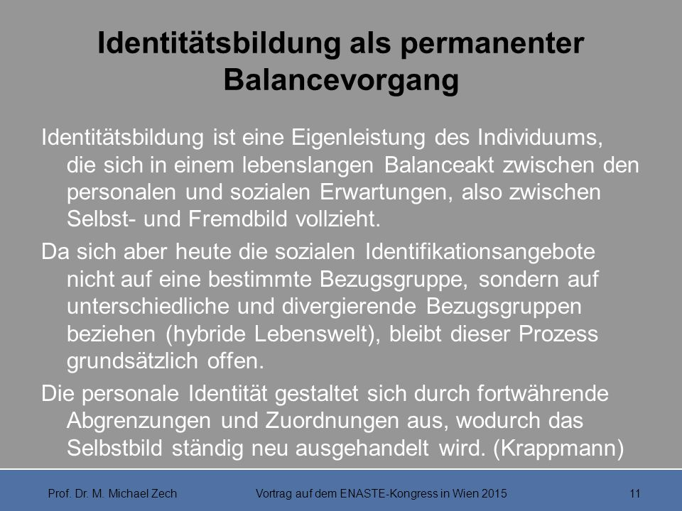 Identitätsbildung als permanenter Balancevorgang