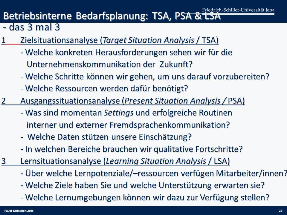 Betriebsinterne Bedarfsplanung: TSA, PSA & LSA - das 3 mal 3