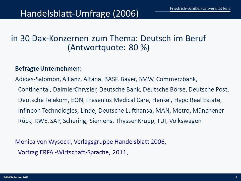 in 30 Dax-Konzernen zum Thema: Deutsch im Beruf (Antwortquote: 80 %)