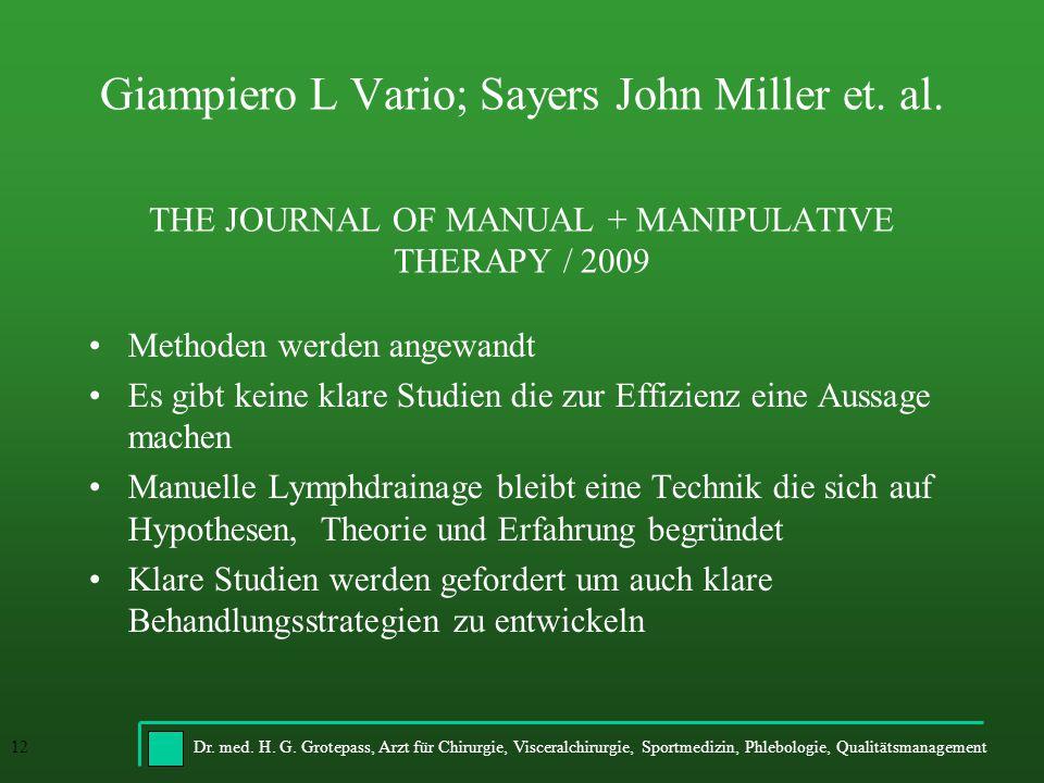Giampiero L Vario; Sayers John Miller et. al
