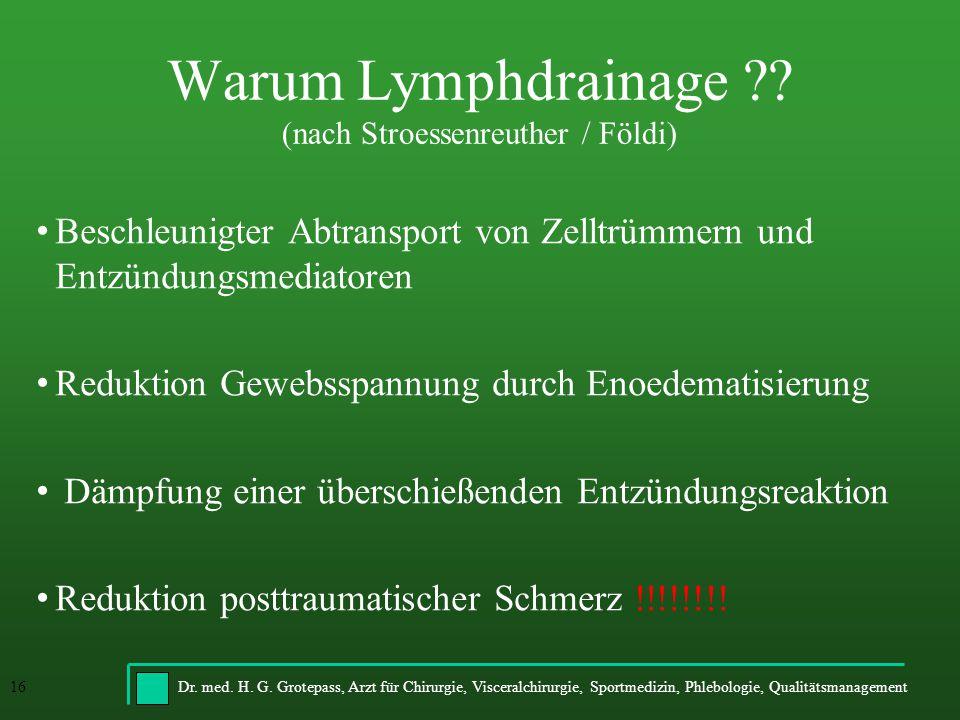 Warum Lymphdrainage (nach Stroessenreuther / Földi)