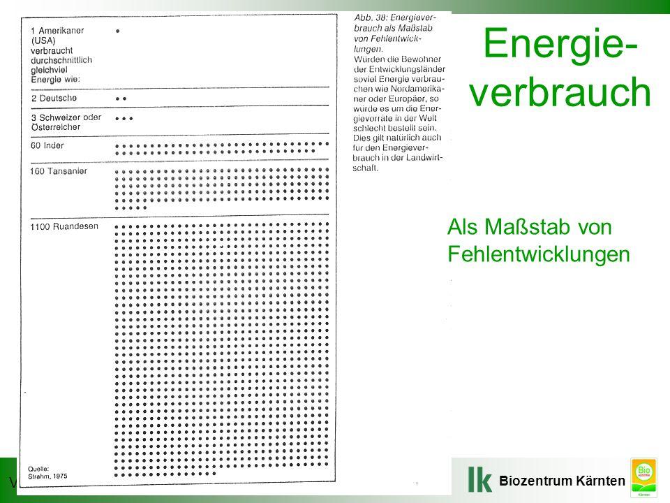 Energie- verbrauch Als Maßstab von Fehlentwicklungen