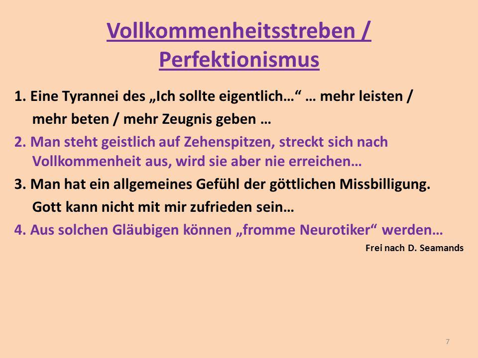 Vollkommenheitsstreben / Perfektionismus
