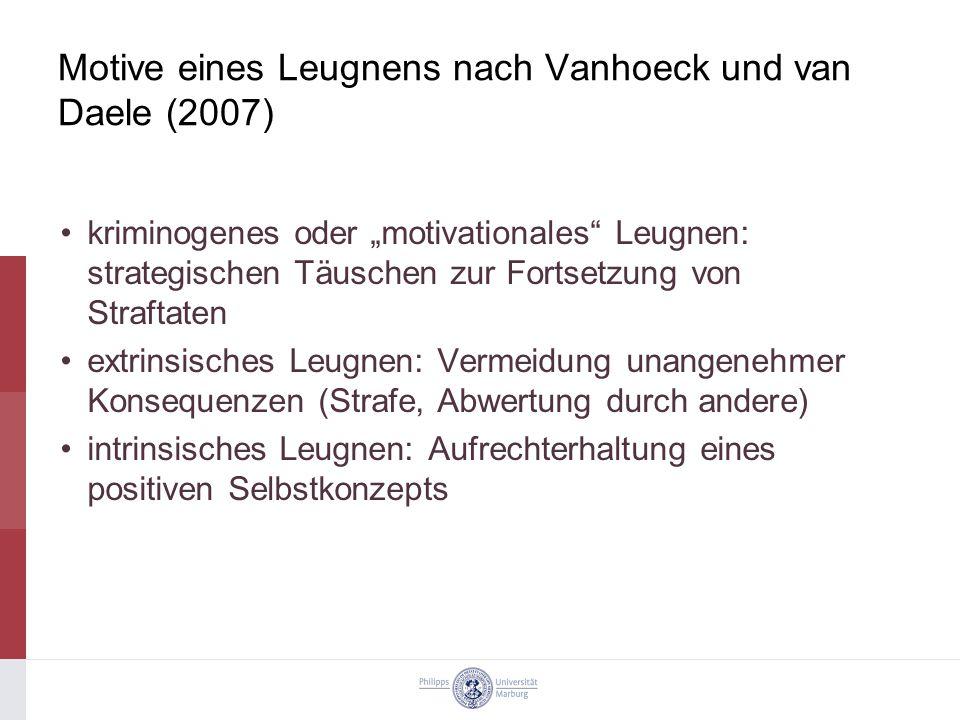 Motive eines Leugnens nach Vanhoeck und van Daele (2007)