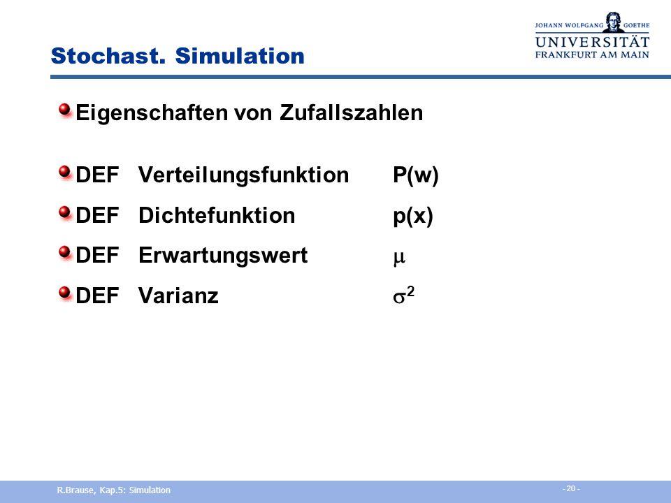 Eigenschaften von Zufallszahlen DEF Verteilungsfunktion P(w)