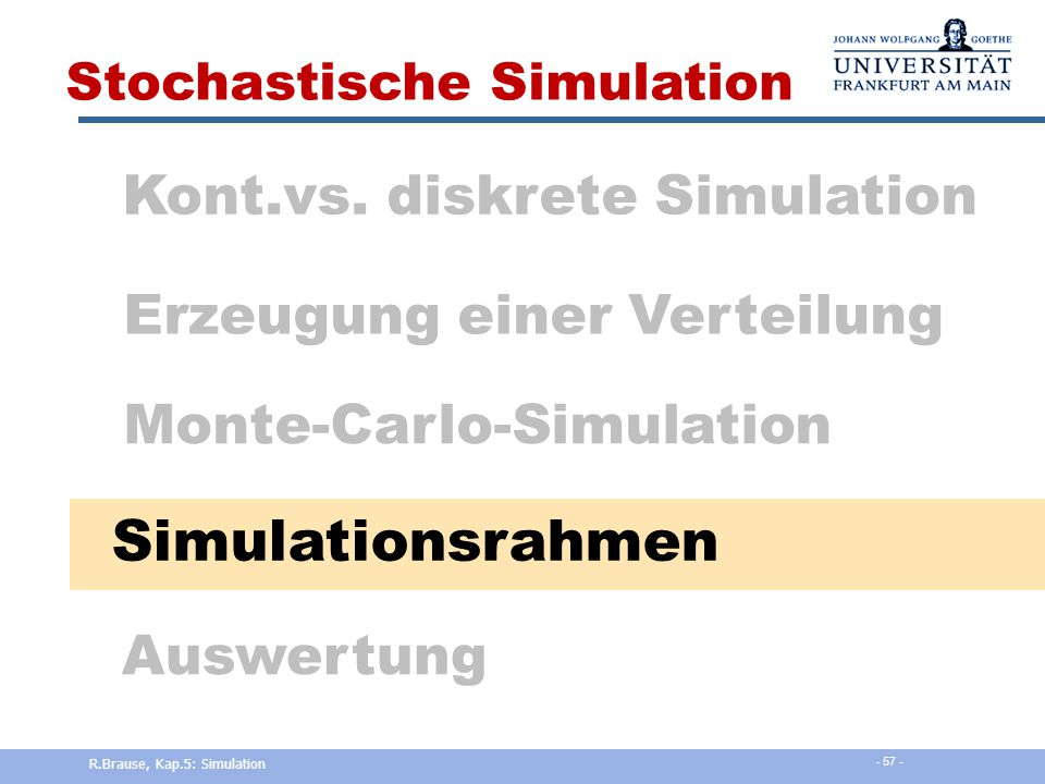 Simulationsrahmen Kont.vs. diskrete Simulation