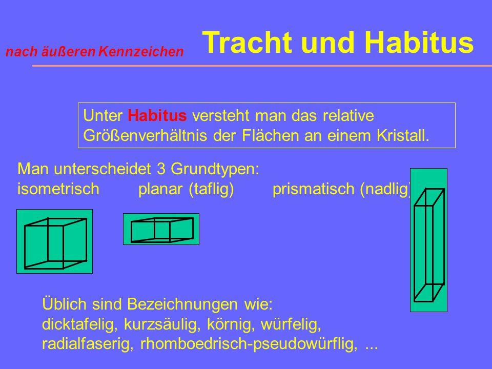 Tracht und Habitus nach äußeren Kennzeichen. Unter Habitus versteht man das relative Größenverhältnis der Flächen an einem Kristall.
