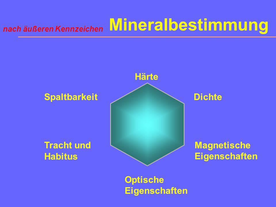 Mineralbestimmung Härte Spaltbarkeit Dichte Tracht und Habitus