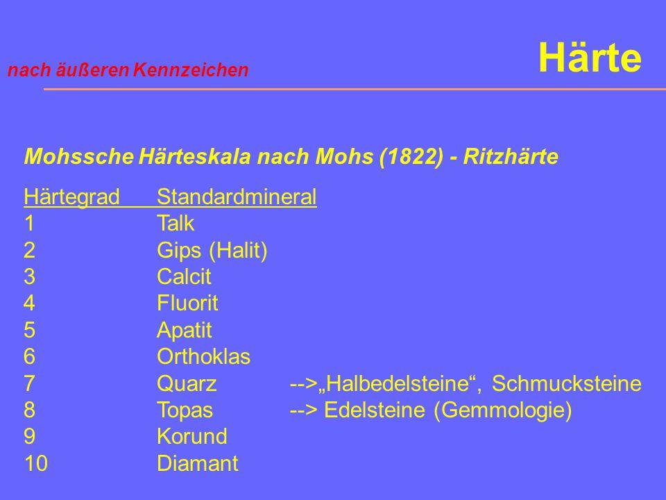 Härte Mohssche Härteskala nach Mohs (1822) - Ritzhärte