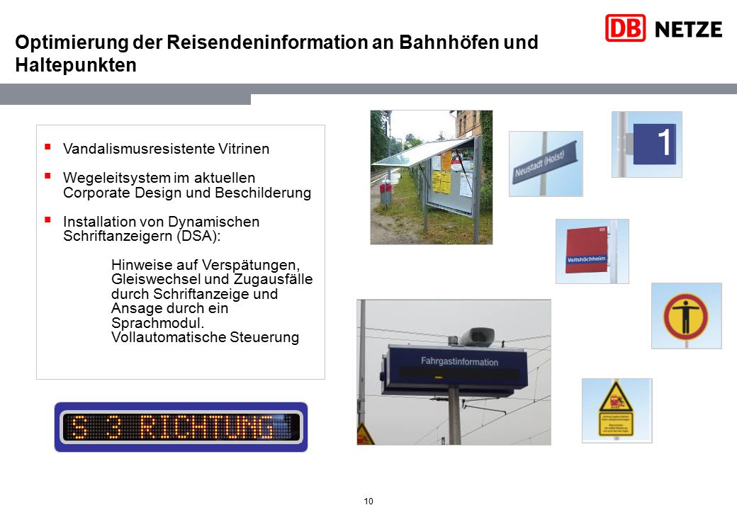 Optimierung der Reisendeninformation an Bahnhöfen und Haltepunkten