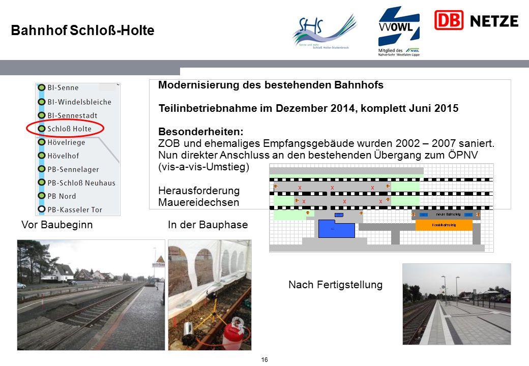 Bahnhof Schloß-Holte Modernisierung des bestehenden Bahnhofs