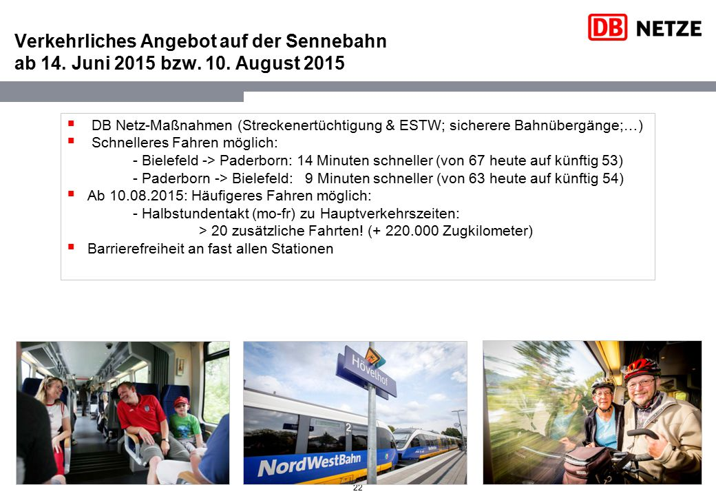 Verkehrliches Angebot auf der Sennebahn ab 14. Juni 2015 bzw. 10