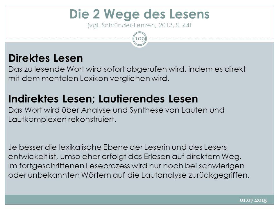 Die 2 Wege des Lesens (vgl. Schründer-Lenzen, 2013, S. 44f