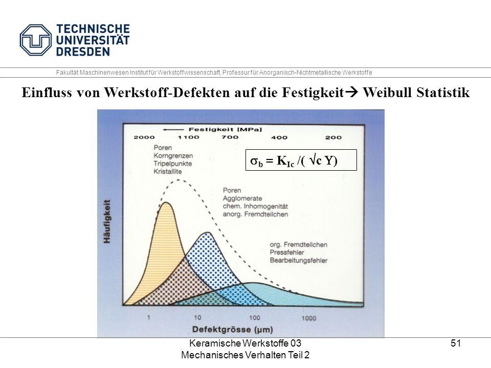 Einfluss von Werkstoff-Defekten auf die Festigkeit Weibull Statistik