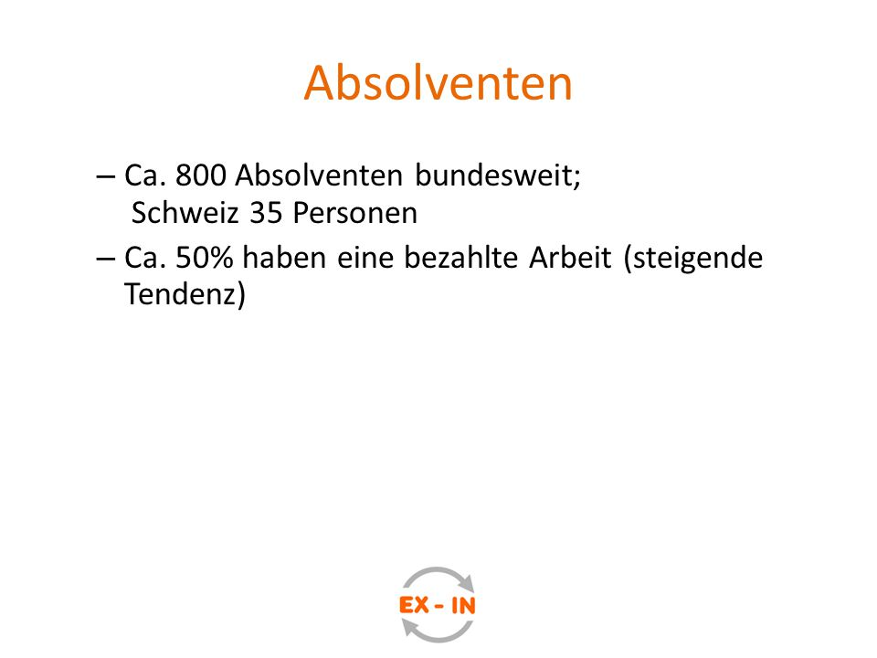 Absolventen Ca. 800 Absolventen bundesweit; Schweiz 35 Personen
