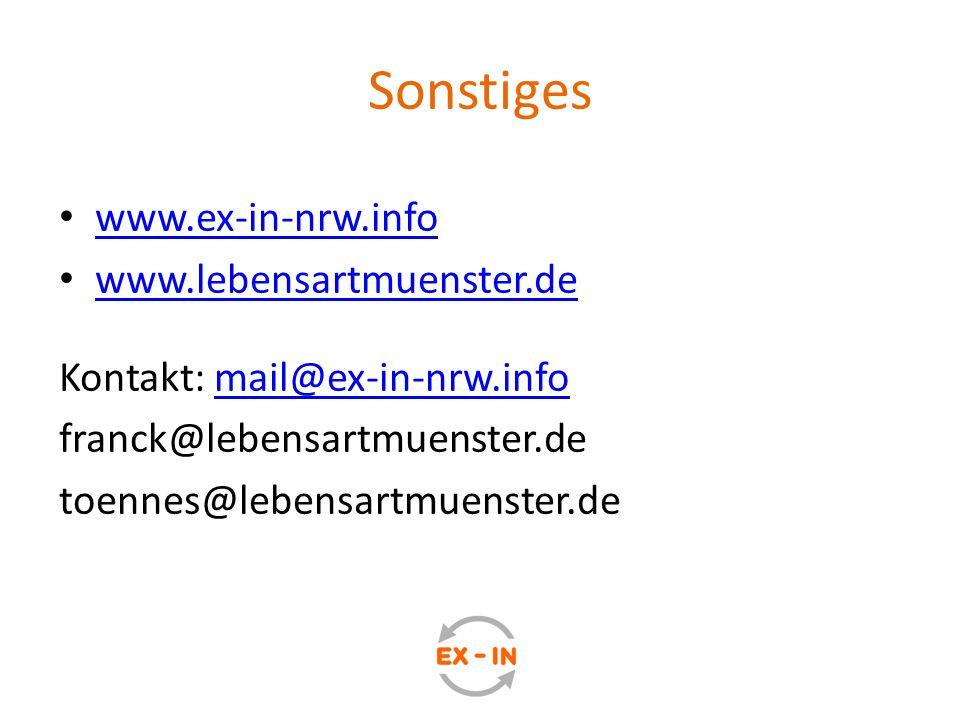 Sonstiges www.ex-in-nrw.info www.lebensartmuenster.de