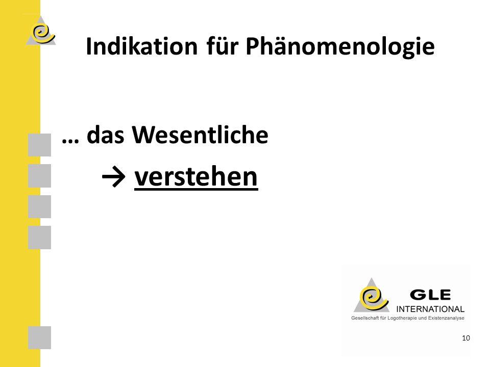 Indikation für Phänomenologie
