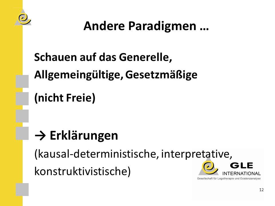 Andere Paradigmen … → Erklärungen Schauen auf das Generelle,