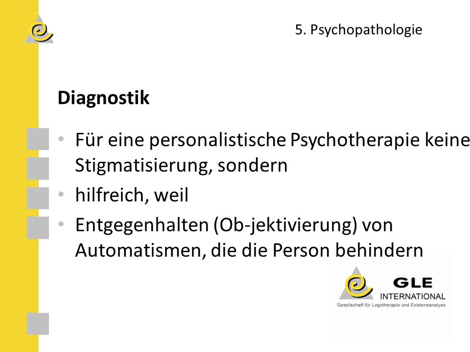 5. Psychopathologie Diagnostik. Für eine personalistische Psychotherapie keine Stigmatisierung, sondern.