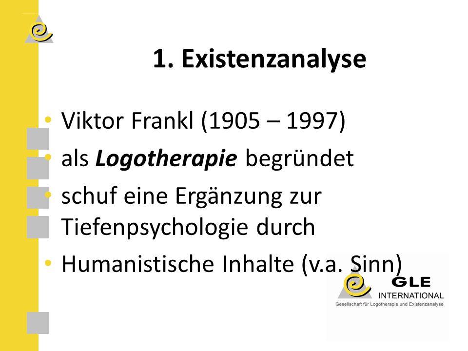 1. Existenzanalyse Viktor Frankl (1905 – 1997)