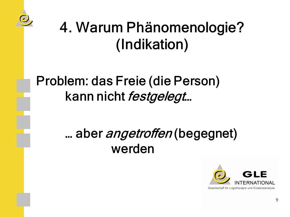 4. Warum Phänomenologie (Indikation)