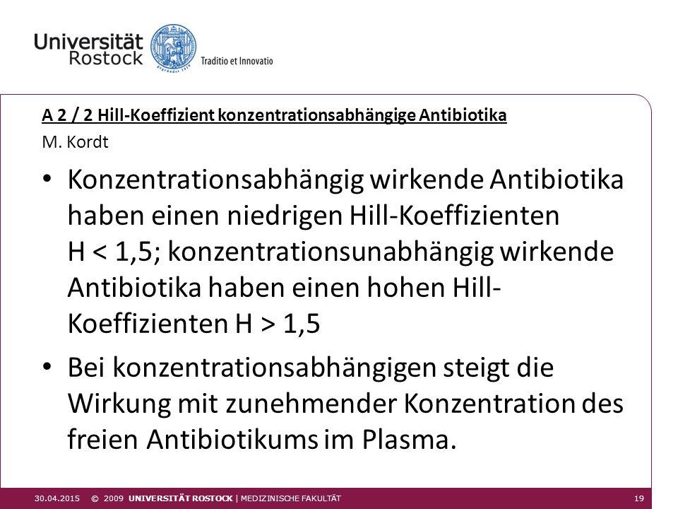 A 2 / 2 Hill-Koeffizient konzentrationsabhängige Antibiotika