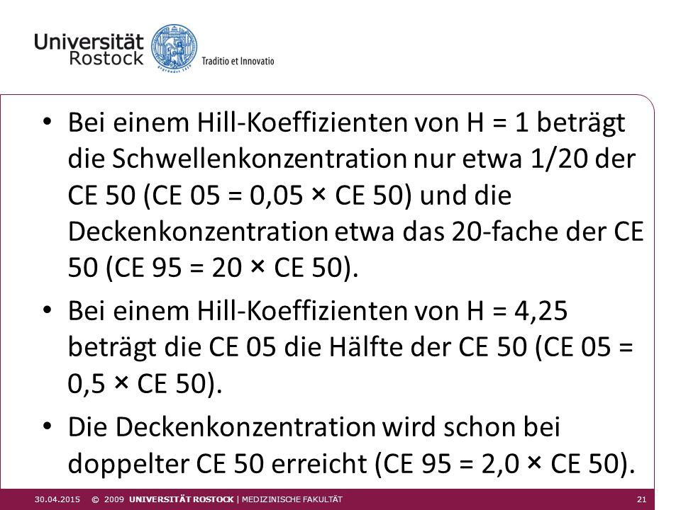 Bei einem Hill-Koeffizienten von H = 1 beträgt die Schwellenkonzentration nur etwa 1/20 der CE 50 (CE 05 = 0,05 × CE 50) und die Deckenkonzentration etwa das 20-fache der CE 50 (CE 95 = 20 × CE 50).