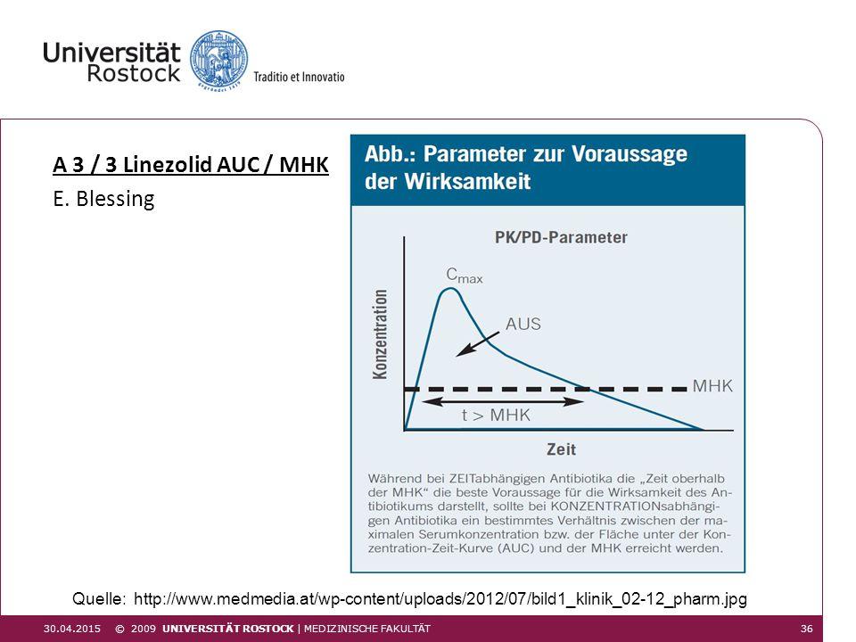 A 3 / 3 Linezolid AUC / MHK E. Blessing