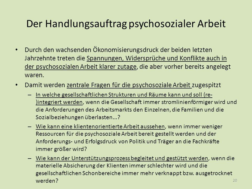Der Handlungsauftrag psychosozialer Arbeit