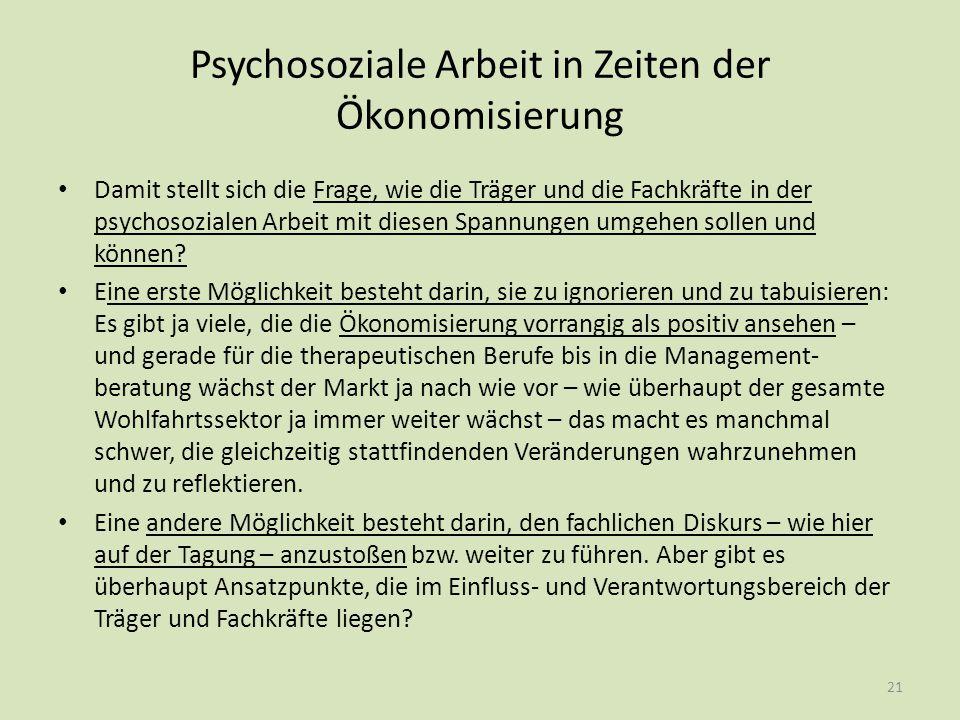 Psychosoziale Arbeit in Zeiten der Ökonomisierung