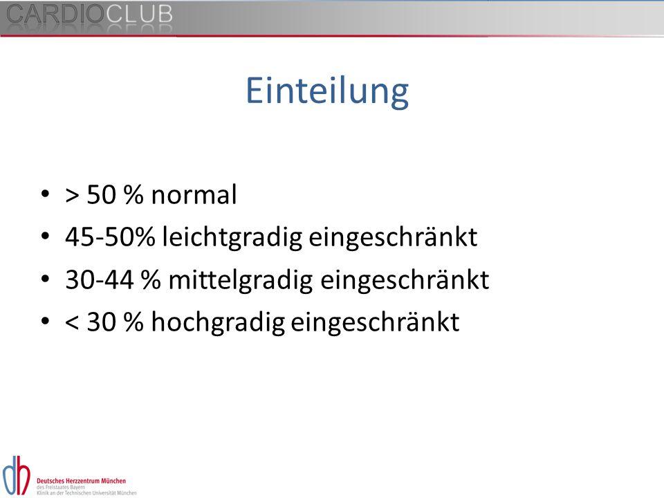 Einteilung > 50 % normal 45-50% leichtgradig eingeschränkt