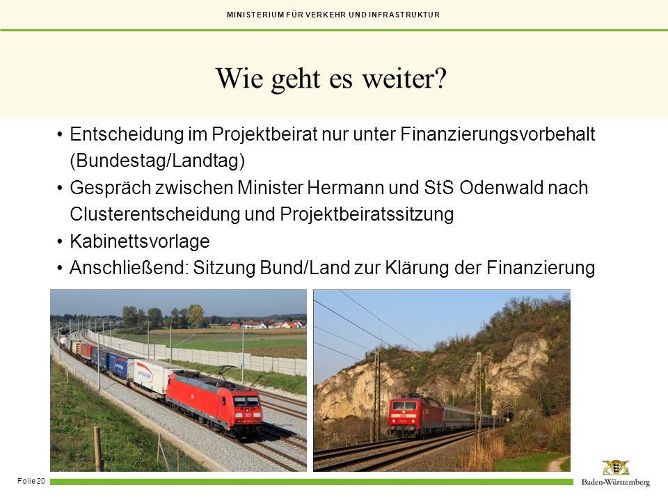 Wie geht es weiter Entscheidung im Projektbeirat nur unter Finanzierungsvorbehalt. (Bundestag/Landtag)