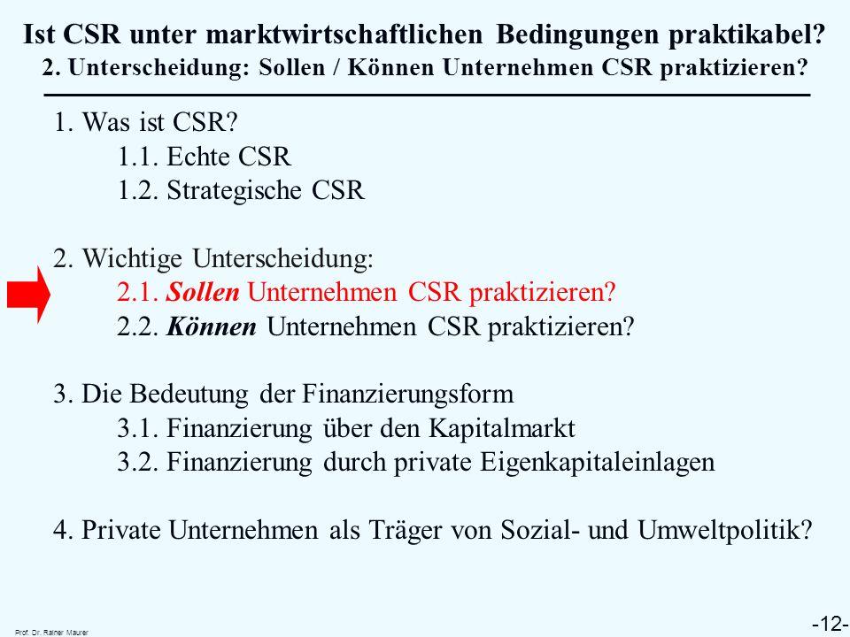 Ist CSR unter marktwirtschaftlichen Bedingungen praktikabel. 2