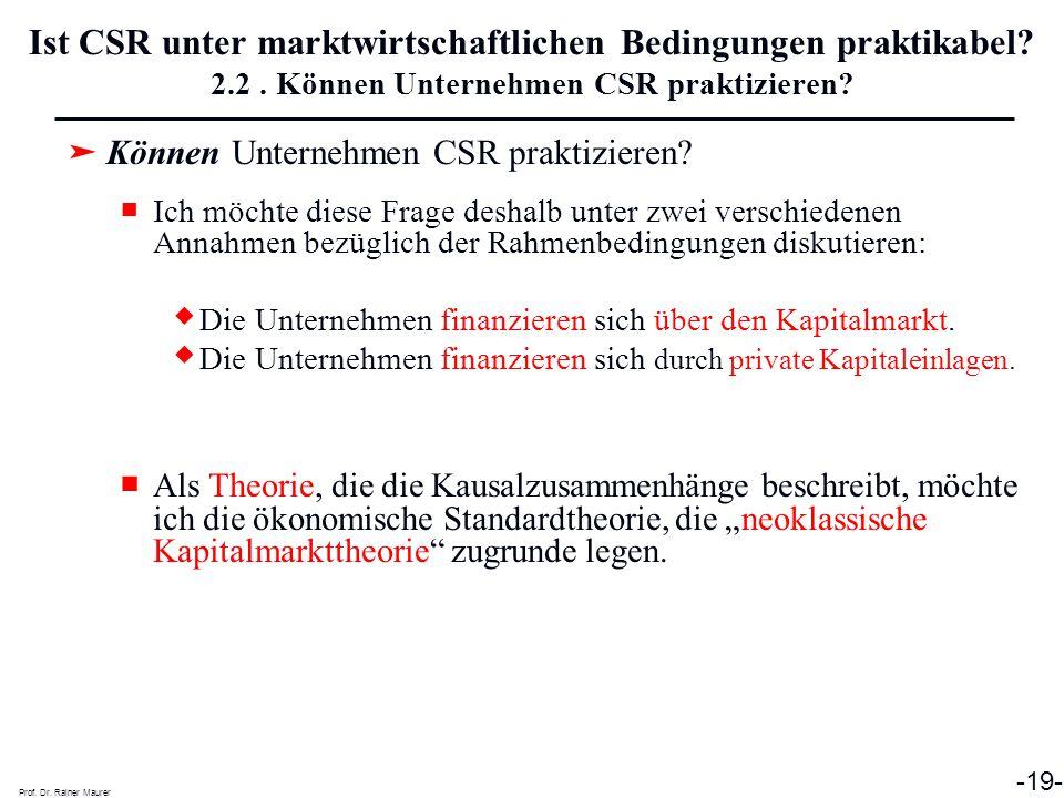 Ist CSR unter marktwirtschaftlichen Bedingungen praktikabel. 2. 2